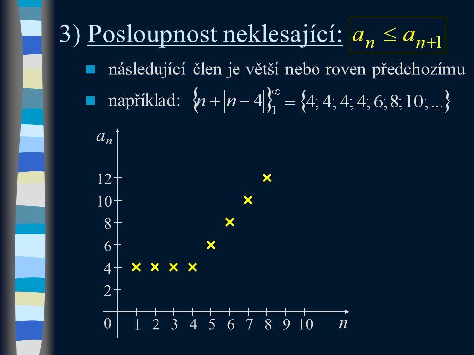 4) Posloupnost nerostoucí: následující člen je menší nebo roven předchozímu například: n 0 1 2345 2 –2 –4 –6 4 76 anan 8910