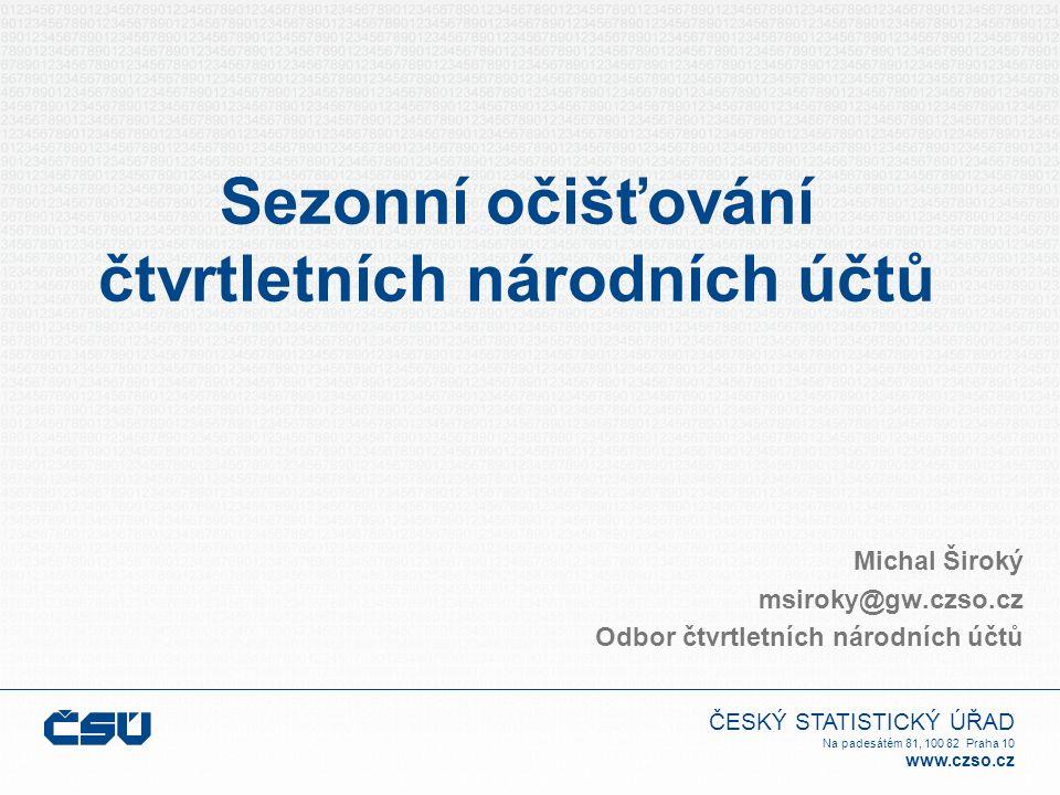 ČESKÝ STATISTICKÝ ÚŘAD Na padesátém 81, 100 82 Praha 10 www.czso.cz Hrubý domácí produkt 1996199719981999 r/r tempo1,6-0,1-2,2-2,1-2,0-1,4-0,8-0,40,10,91,72,1 k/k tempo0,80,70,0-0,3-0,6-0,8-0,3 -0,10,00,2 0,50,8