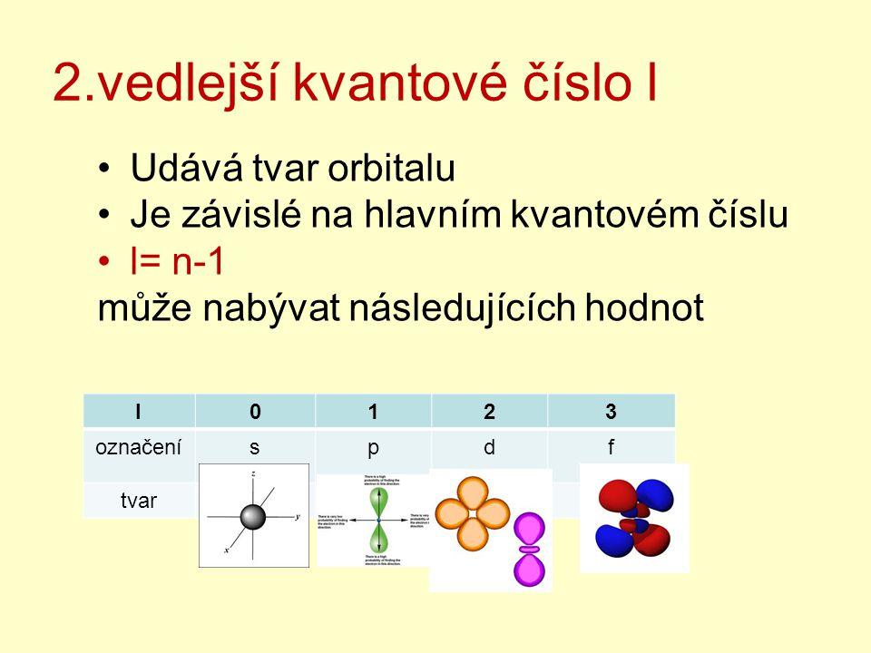 2.vedlejší kvantové číslo l Udává tvar orbitalu Je závislé na hlavním kvantovém číslu l= n-1 může nabývat následujících hodnot l0123 označeníspdf tvar