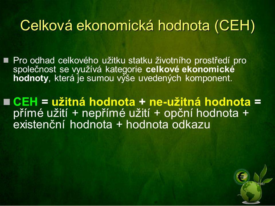 Celková ekonomická hodnota (CEH) Pro odhad celkového užitku statku životního prostředí pro společnost se využívá kategorie celkové ekonomické hodnoty,