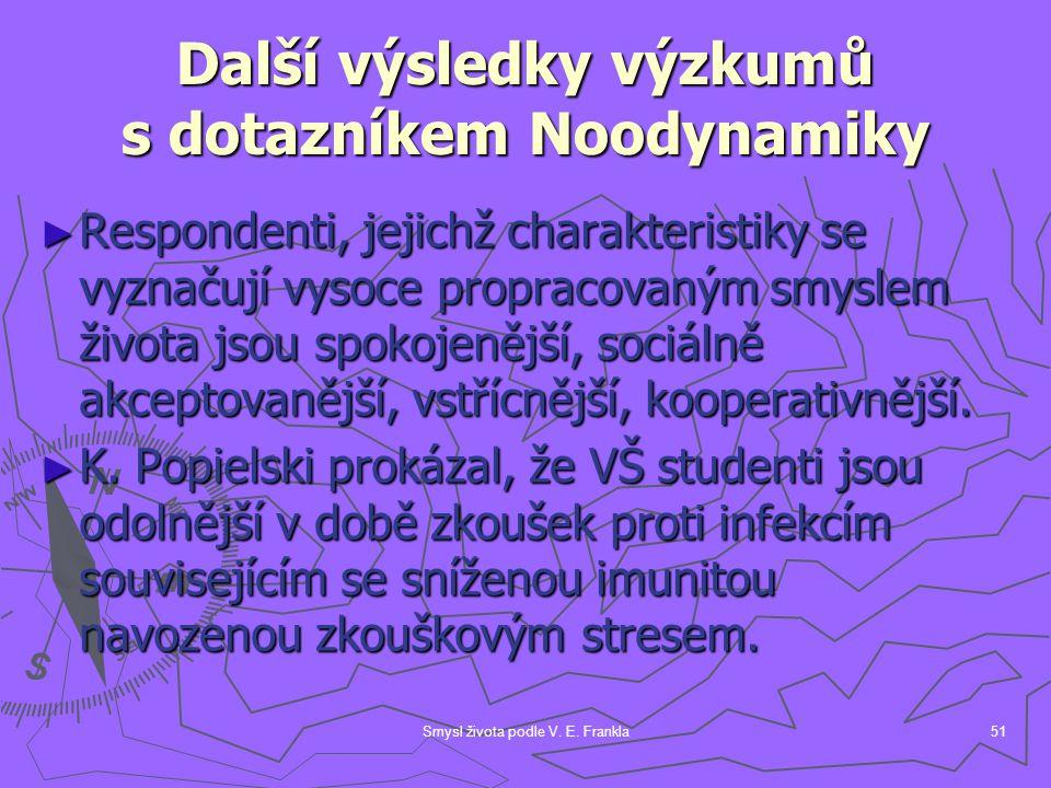Smysl života podle V. E. Frankla51 Další výsledky výzkumů s dotazníkem Noodynamiky ► Respondenti, jejichž charakteristiky se vyznačují vysoce propraco