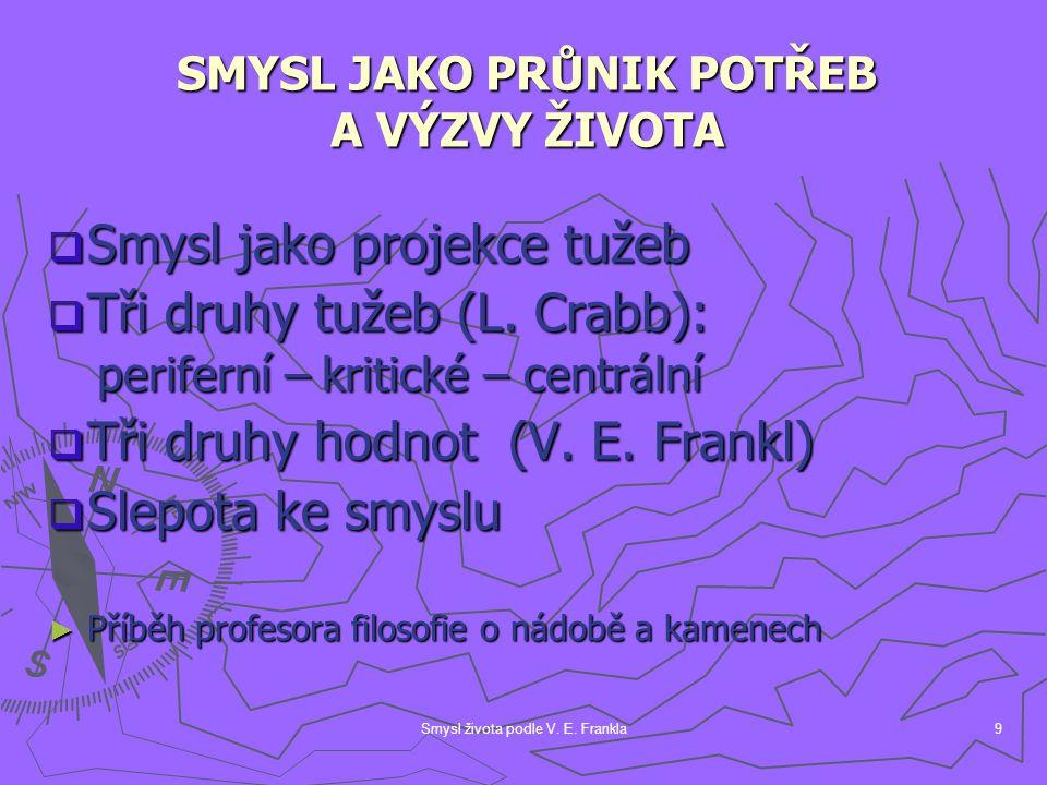 Smysl života podle V. E. Frankla9  Smysl jako projekce tužeb  Tři druhy tužeb (L. Crabb): periferní – kritické – centrální periferní – kritické – ce