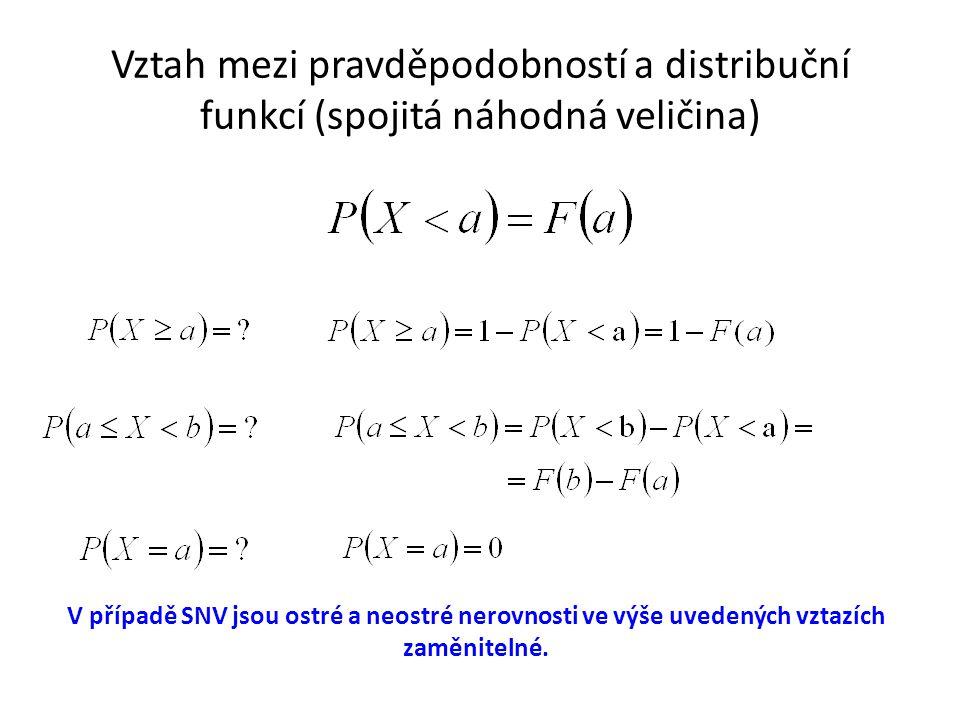Vztah mezi pravděpodobností a distribuční funkcí (spojitá náhodná veličina) V případě SNV jsou ostré a neostré nerovnosti ve výše uvedených vztazích z