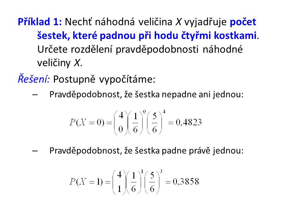 Příklad 1: Nechť náhodná veličina X vyjadřuje počet šestek, které padnou při hodu čtyřmi kostkami. Určete rozdělení pravděpodobnosti náhodné veličiny