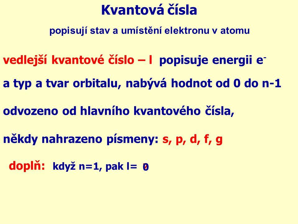 Kvantová čísla vedlejší kvantové číslo – l popisuje energii e - a typ a tvar orbitalu, nabývá hodnot od 0 do n-1 odvozeno od hlavního kvantového čísla