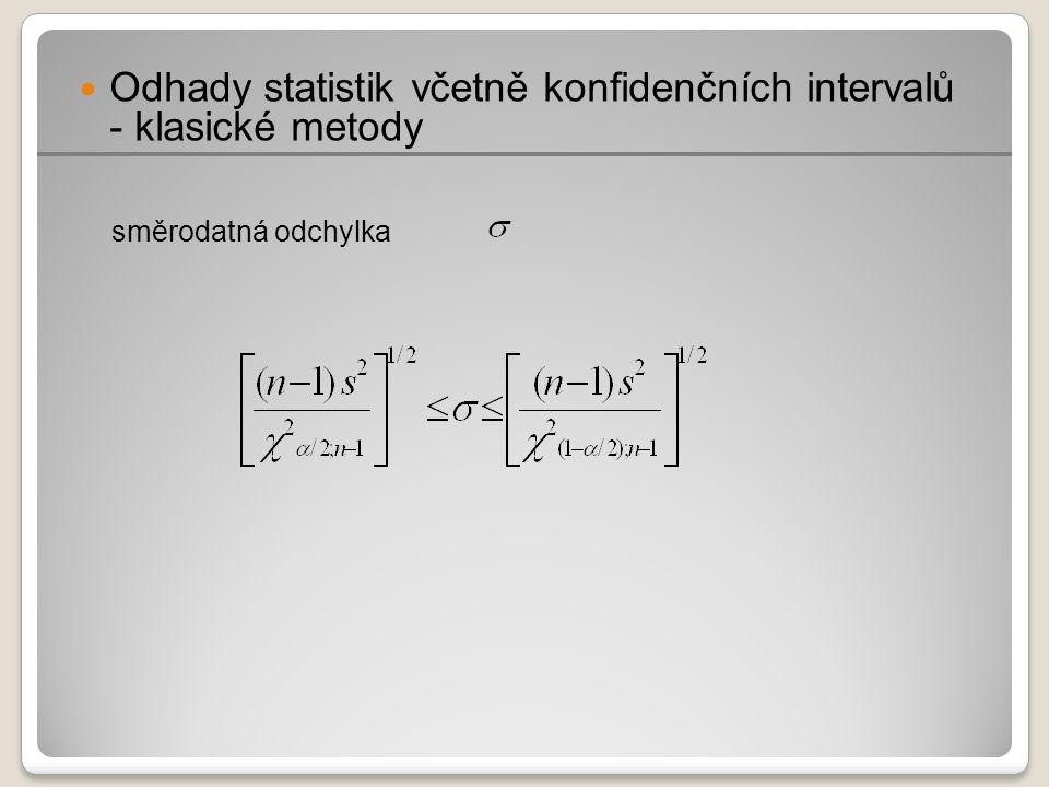 Odhady statistik včetně konfidenčních intervalů - klasické metody směrodatná odchylka