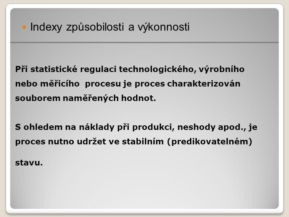 Hodnoty naměřené v regulovaném procesu: - mají být centrovány mezi horní a dolní specifikační (toleranční) mezí (USL, LSL), - v datech se nemá vyskytovat žádné seskupení dat podle vzoru systematických (vymezitelných) příčin (viz ČSN ISO 8258).