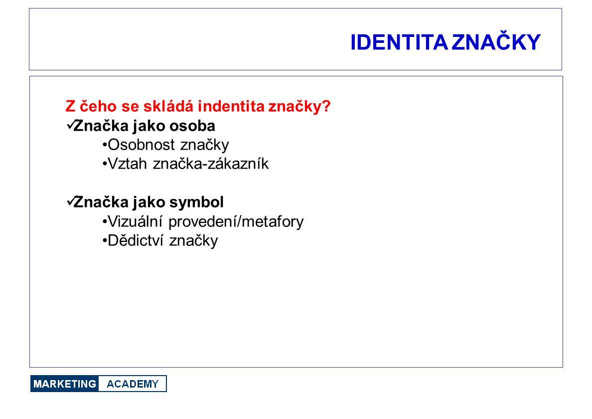 IDENTITA ZNAČKY Z čeho se skládá indentita značky? Značka jako osoba Osobnost značky Vztah značka-zákazník Značka jako symbol Vizuální provedení/metaf