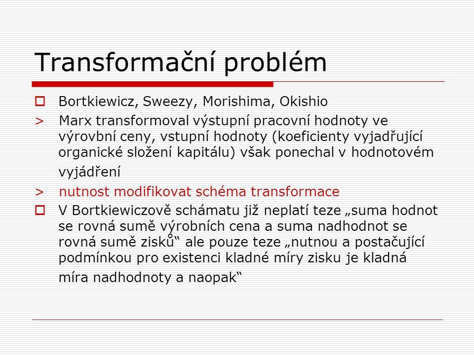 """Transformační problém  Bortkiewicz, Sweezy, Morishima, Okishio > Marx transformoval výstupní pracovní hodnoty ve výrovbní ceny, vstupní hodnoty (koeficienty vyjadřující organické složení kapitálu) však ponechal v hodnotovém vyjádření > nutnost modifikovat schéma transformace  V Bortkiewiczově schámatu již neplatí teze """"suma hodnot se rovná sumě výrobních cena a suma nadhodnot se rovná sumě zisků ale pouze teze """"nutnou a postačující podmínkou pro existenci kladné míry zisku je kladná míra nadhodnoty a naopak"""