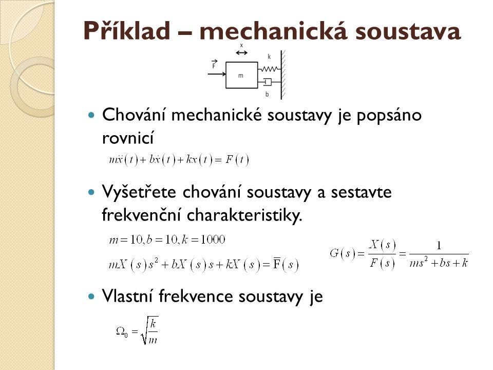 Příklad – mechanická soustava Chování mechanické soustavy je popsáno rovnicí Vyšetřete chování soustavy a sestavte frekvenční charakteristiky. Vlastní