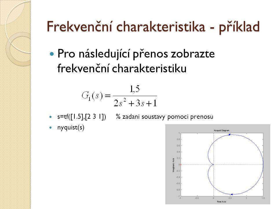 Frekvenční charakteristika - příklad Pro následující přenos zobrazte frekvenční charakteristiku s=tf([1.5],[2 3 1]) % zadani soustavy pomoci prenosu n