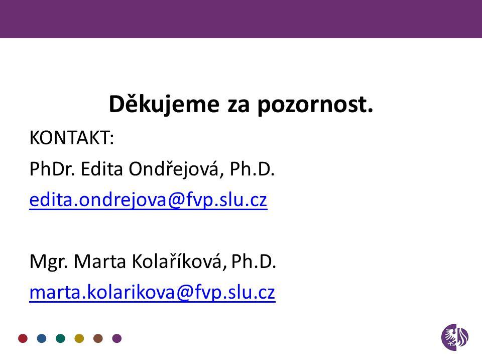Děkujeme za pozornost. KONTAKT: PhDr. Edita Ondřejová, Ph.D. edita.ondrejova@fvp.slu.cz Mgr. Marta Kolaříková, Ph.D. marta.kolarikova@fvp.slu.cz