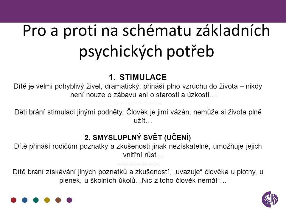 Pro a proti na schématu základních psychických potřeb 1.STIMULACE Dítě je velmi pohyblivý živel, dramatický, přináší plno vzruchu do života – nikdy ne