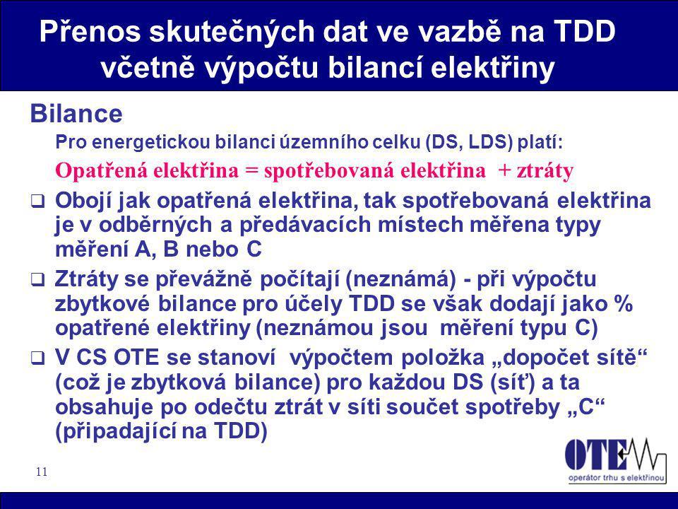 11 Přenos skutečných dat ve vazbě na TDD včetně výpočtu bilancí elektřiny Bilance Pro energetickou bilanci územního celku (DS, LDS) platí: Opatřená el