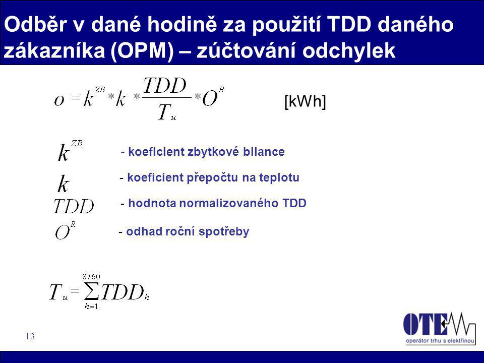 13 Odběr v dané hodině za použití TDD daného zákazníka (OPM) – zúčtování odchylek - koeficient zbytkové bilance - koeficient přepočtu na teplotu - hod