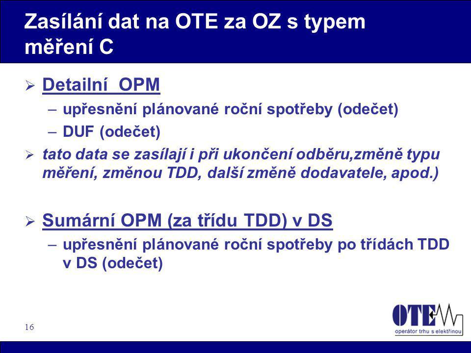 16 Zasílání dat na OTE za OZ s typem měření C  Detailní OPM –upřesnění plánované roční spotřeby (odečet) –DUF (odečet)  tato data se zasílají i při