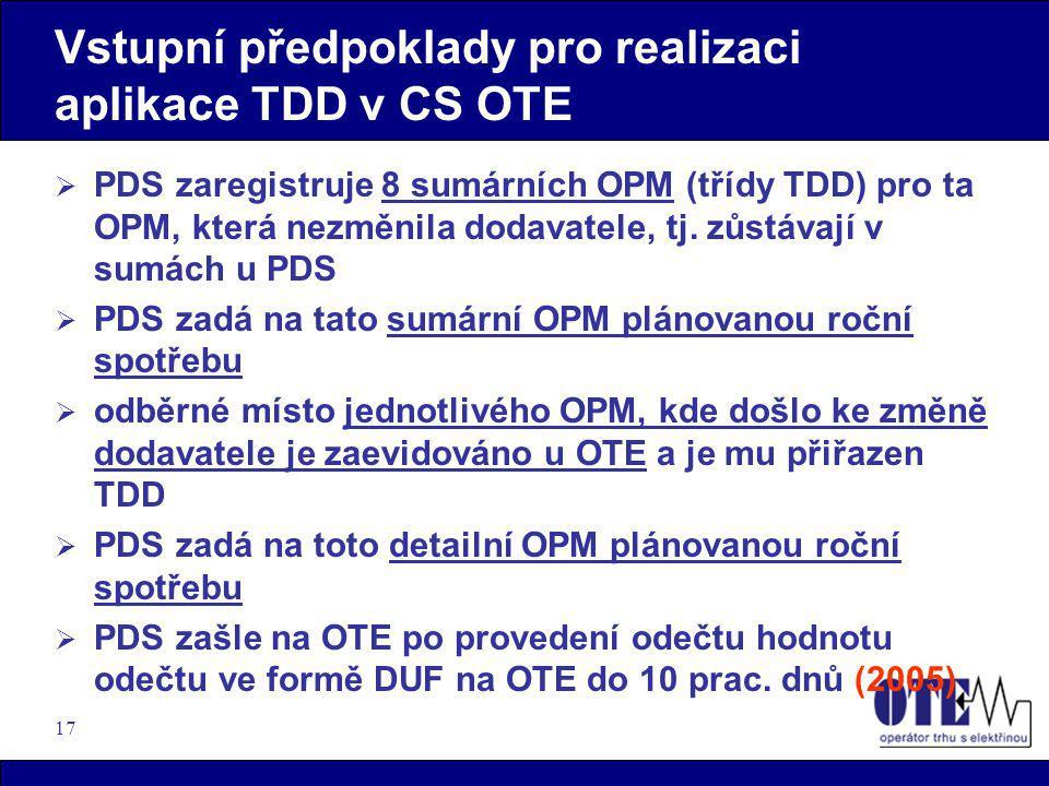 17 Vstupní předpoklady pro realizaci aplikace TDD v CS OTE  PDS zaregistruje 8 sumárních OPM (třídy TDD) pro ta OPM, která nezměnila dodavatele, tj.