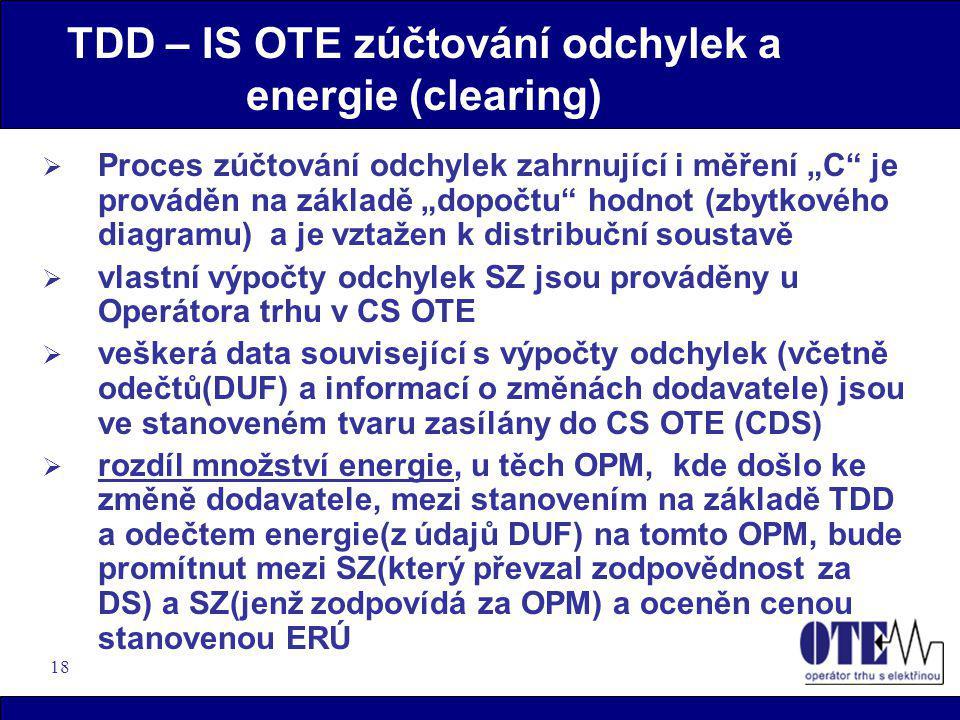 """18 TDD – IS OTE zúčtování odchylek a energie (clearing)  Proces zúčtování odchylek zahrnující i měření """"C"""" je prováděn na základě """"dopočtu"""" hodnot (z"""