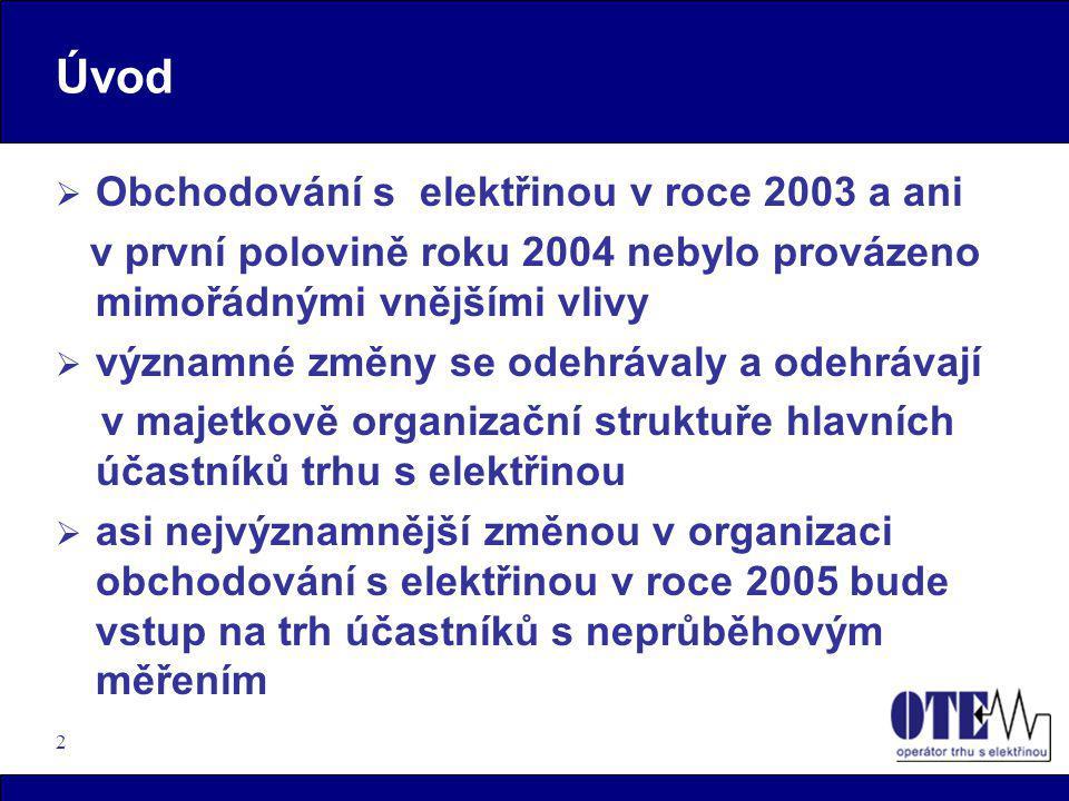 2 Úvod  Obchodování s elektřinou v roce 2003 a ani v první polovině roku 2004 nebylo provázeno mimořádnými vnějšími vlivy  významné změny se odehráv