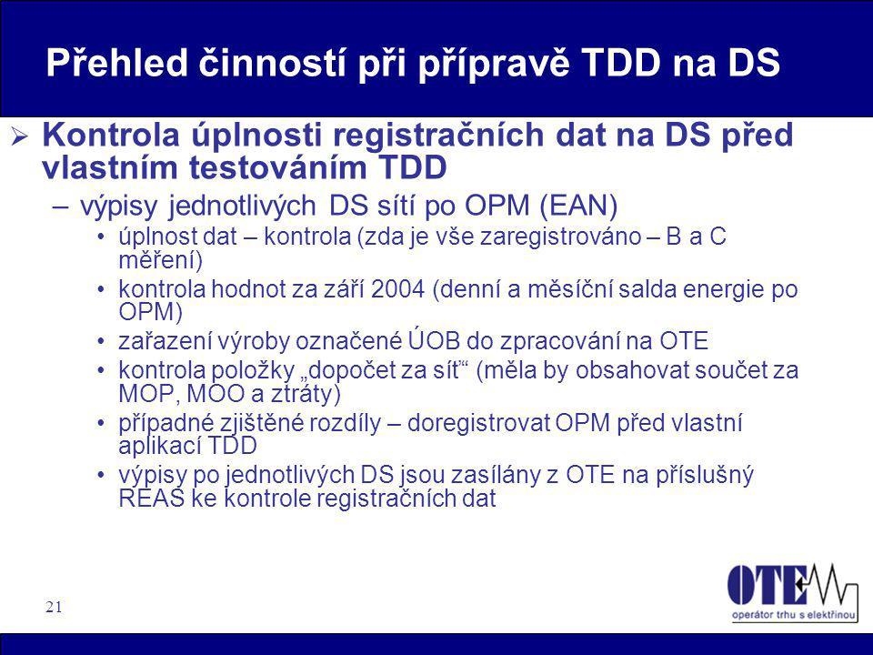 21 Přehled činností při přípravě TDD na DS  Kontrola úplnosti registračních dat na DS před vlastním testováním TDD –výpisy jednotlivých DS sítí po OP