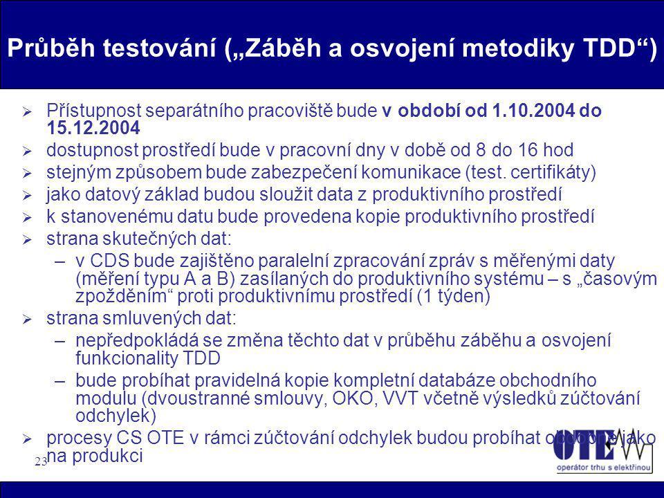 """23 Průběh testování (""""Záběh a osvojení metodiky TDD"""")  Přístupnost separátního pracoviště bude v období od 1.10.2004 do 15.12.2004  dostupnost prost"""