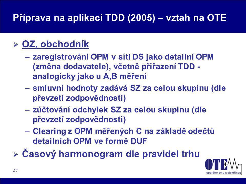 27 Příprava na aplikaci TDD (2005) – vztah na OTE  OZ, obchodník –zaregistrování OPM v síti DS jako detailní OPM (změna dodavatele), včetně přiřazení