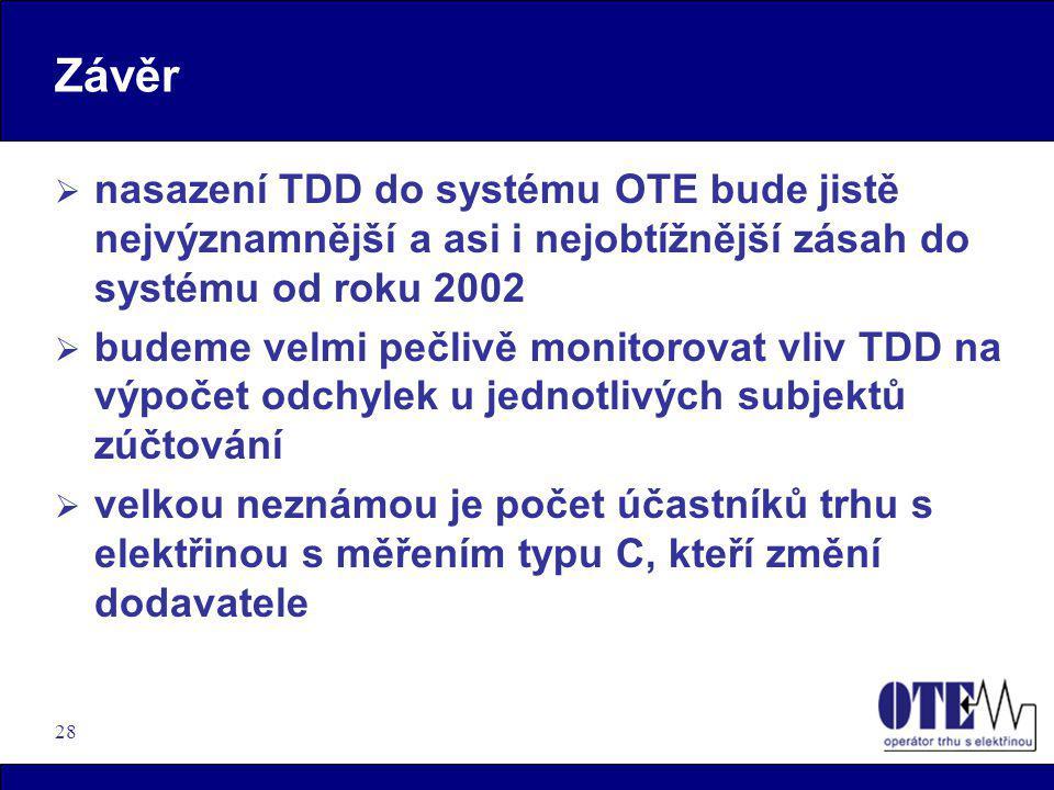 28 Závěr  nasazení TDD do systému OTE bude jistě nejvýznamnější a asi i nejobtížnější zásah do systému od roku 2002  budeme velmi pečlivě monitorova