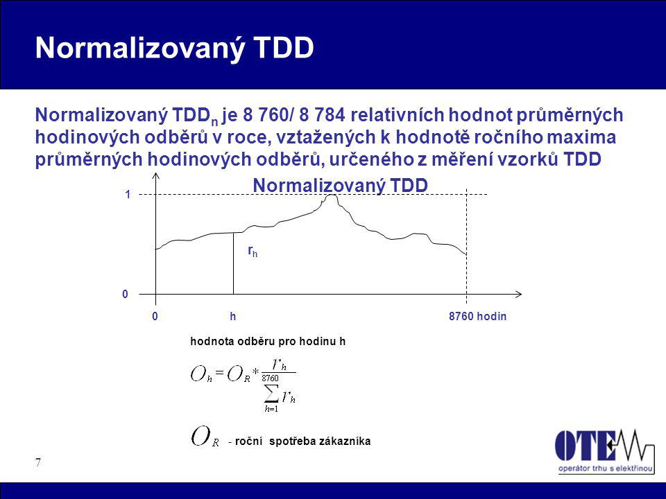 """18 TDD – IS OTE zúčtování odchylek a energie (clearing)  Proces zúčtování odchylek zahrnující i měření """"C je prováděn na základě """"dopočtu hodnot (zbytkového diagramu) a je vztažen k distribuční soustavě  vlastní výpočty odchylek SZ jsou prováděny u Operátora trhu v CS OTE  veškerá data související s výpočty odchylek (včetně odečtů(DUF) a informací o změnách dodavatele) jsou ve stanoveném tvaru zasílány do CS OTE (CDS)  rozdíl množství energie, u těch OPM, kde došlo ke změně dodavatele, mezi stanovením na základě TDD a odečtem energie(z údajů DUF) na tomto OPM, bude promítnut mezi SZ(který převzal zodpovědnost za DS) a SZ(jenž zodpovídá za OPM) a oceněn cenou stanovenou ERÚ"""