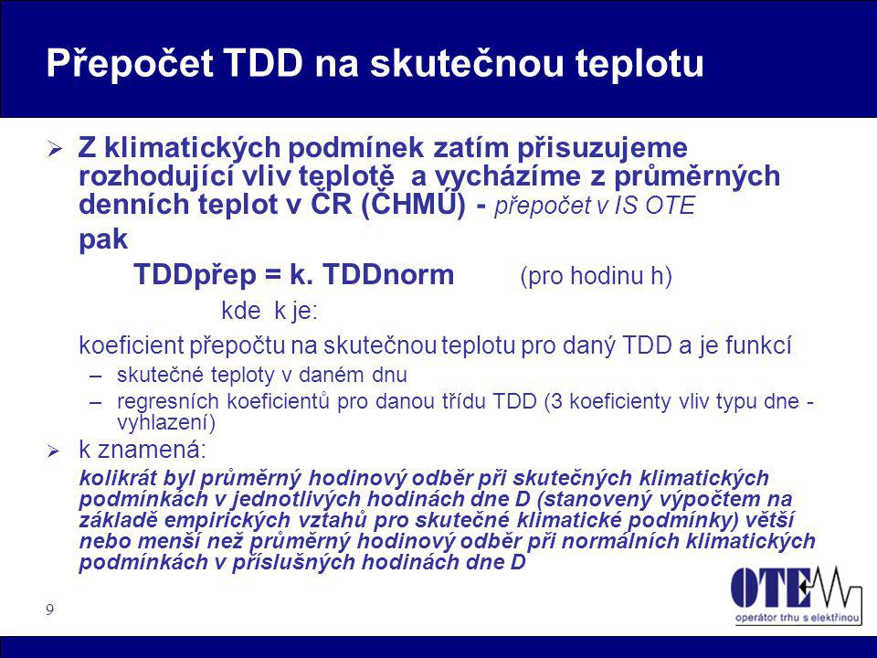 9 Přepočet TDD na skutečnou teplotu  Z klimatických podmínek zatím přisuzujeme rozhodující vliv teplotě a vycházíme z průměrných denních teplot v ČR