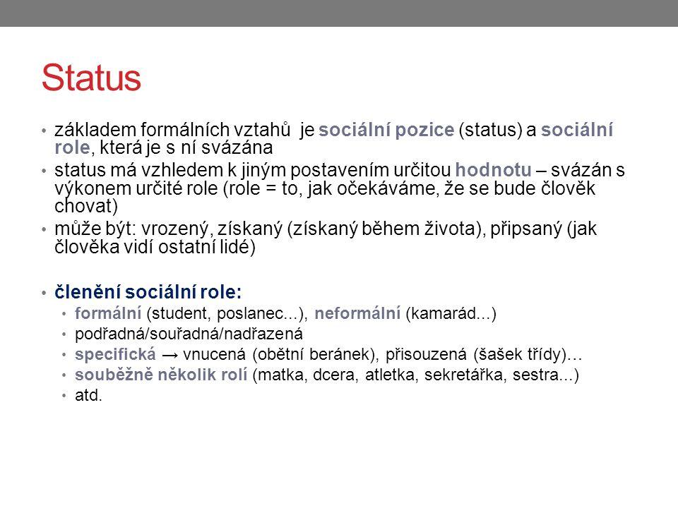 Status základem formálních vztahů je sociální pozice (status) a sociální role, která je s ní svázána status má vzhledem k jiným postavením určitou hod