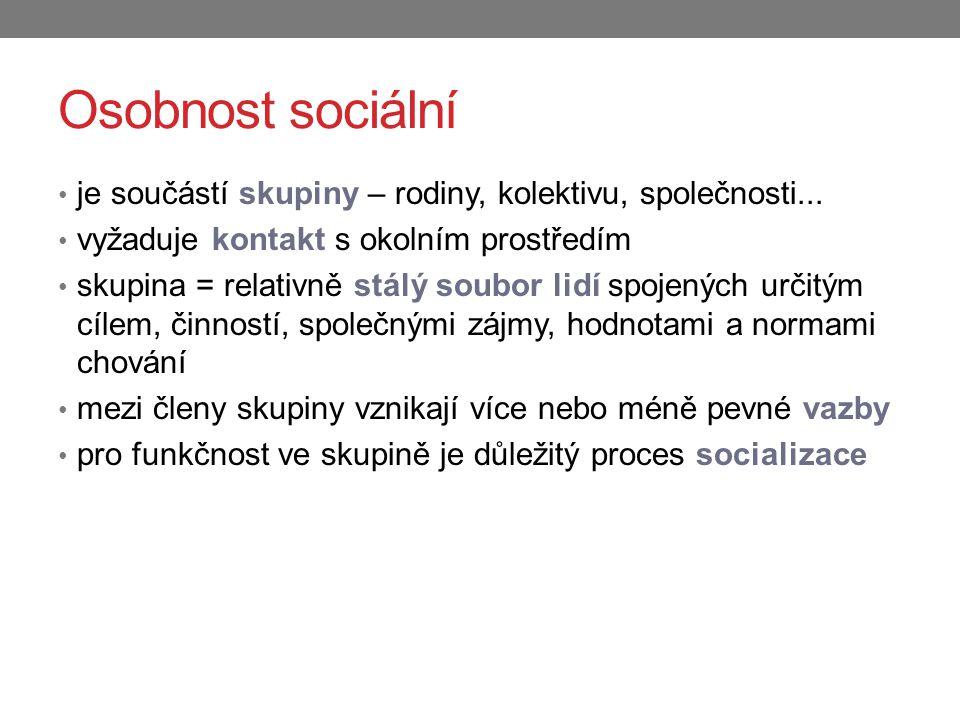 Osobnost sociální je součástí skupiny – rodiny, kolektivu, společnosti... vyžaduje kontakt s okolním prostředím skupina = relativně stálý soubor lidí