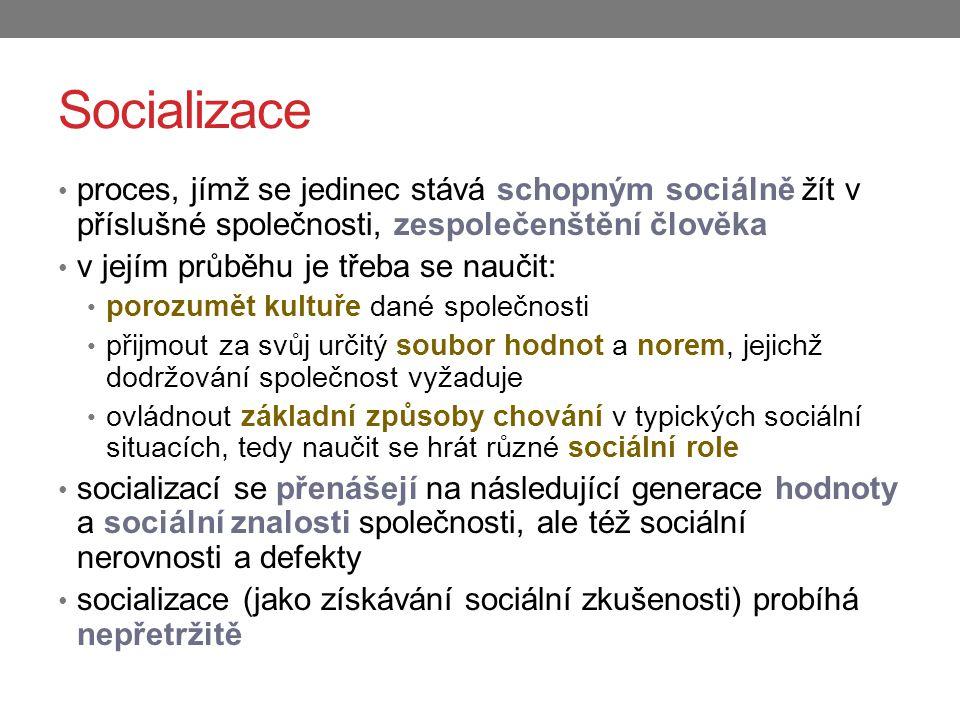 Socializace proces, jímž se jedinec stává schopným sociálně žít v příslušné společnosti, zespolečenštění člověka v jejím průběhu je třeba se naučit: p