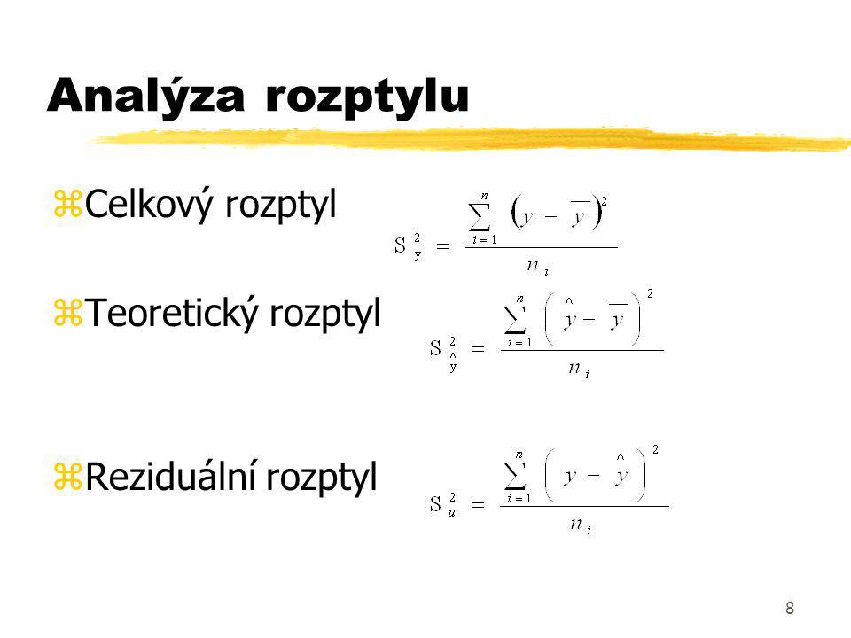 9 Testování významnosti funkčních forem zPomocí statistický hypotéz usuzujeme na statistickou významnost použitých funkčních forem zVlastní testování je založeno na porovnání vypočtené hodnoty testovacího kritéria F testu a relevantní tabulkovou hodnotou