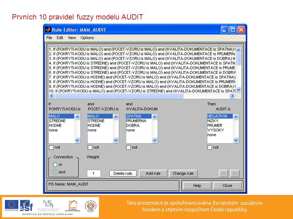 Prvních 10 pravidel fuzzy modelu AUDIT