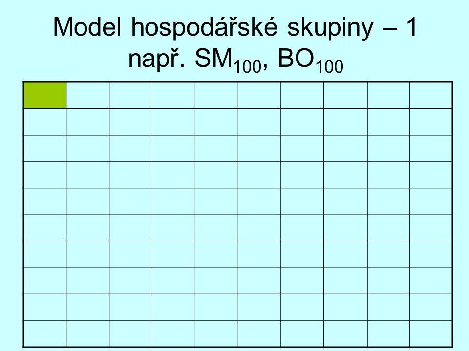Model hospodářské skupiny – 1 např. SM 100, BO 100