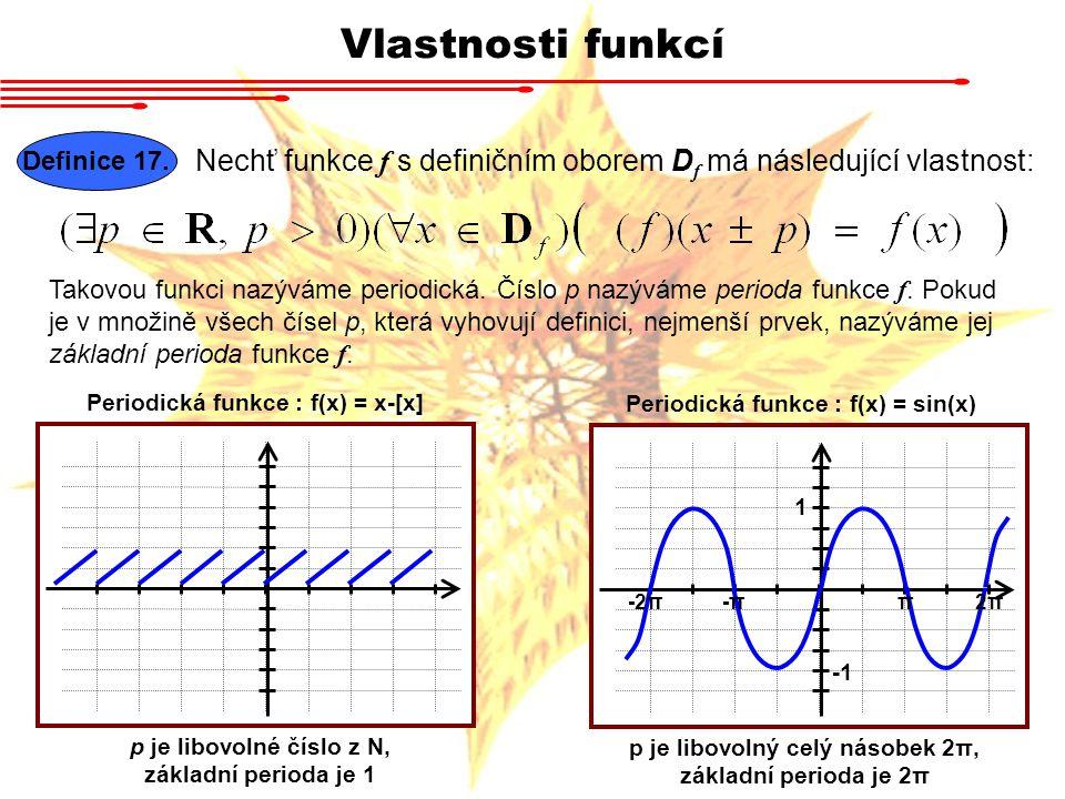 Vlastnosti funkcí Definice 17. Nechť funkce f s definičním oborem D f má následující vlastnost: Takovou funkci nazýváme periodická. Číslo p nazýváme p