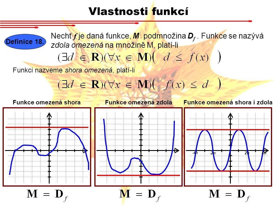Vlastnosti funkcí Definice 18. Nechť f je daná funkce, M podmnožina D f. Funkce se nazývá zdola omezená na množině M, platí-li Funkci nazveme shora om