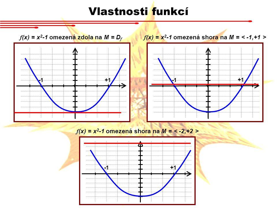 Vlastnosti funkcí f (x) = x 2 -1 omezená zdola na M = D f f (x) = x 2 -1 omezená shora na M = +1 f (x) = x 2 -1 omezená shora na M = +1