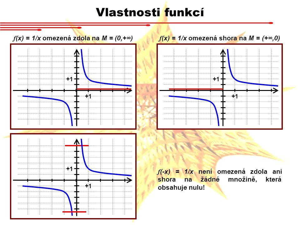 Vlastnosti funkcí f (x) = 1/x omezená zdola na M = (0,+∞) +1 f (x) = 1/x omezená shora na M = (+∞,0) +1 f (-x) = 1/x není omezená zdola ani shora na ž