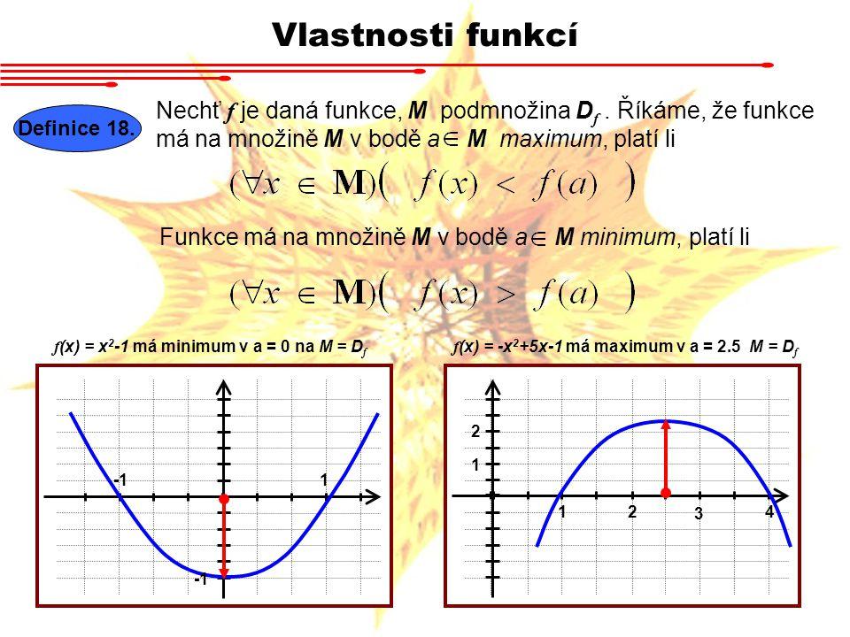 Vlastnosti funkcí Definice 18. Nechť f je daná funkce, M podmnožina D f. Říkáme, že funkce má na množině M v bodě a M maximum, platí li Funkce má na m