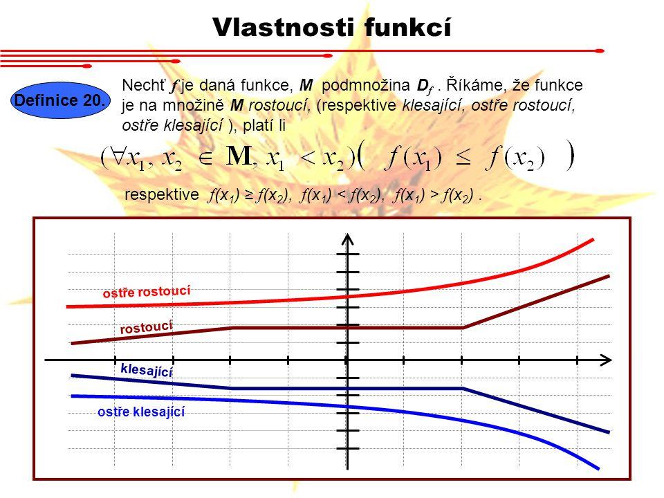 Vlastnosti funkcí Definice 20. Nechť f je daná funkce, M podmnožina D f. Říkáme, že funkce je na množině M rostoucí, (respektive klesající, ostře rost