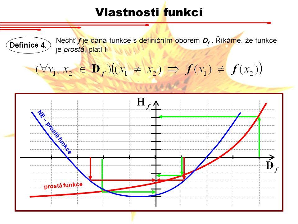 Vlastnosti funkcí Definice 4. Nechť f je daná funkce s definičním oborem D f. Říkáme, že funkce je prostá, platí li prostá funkce NE – prostá funkce