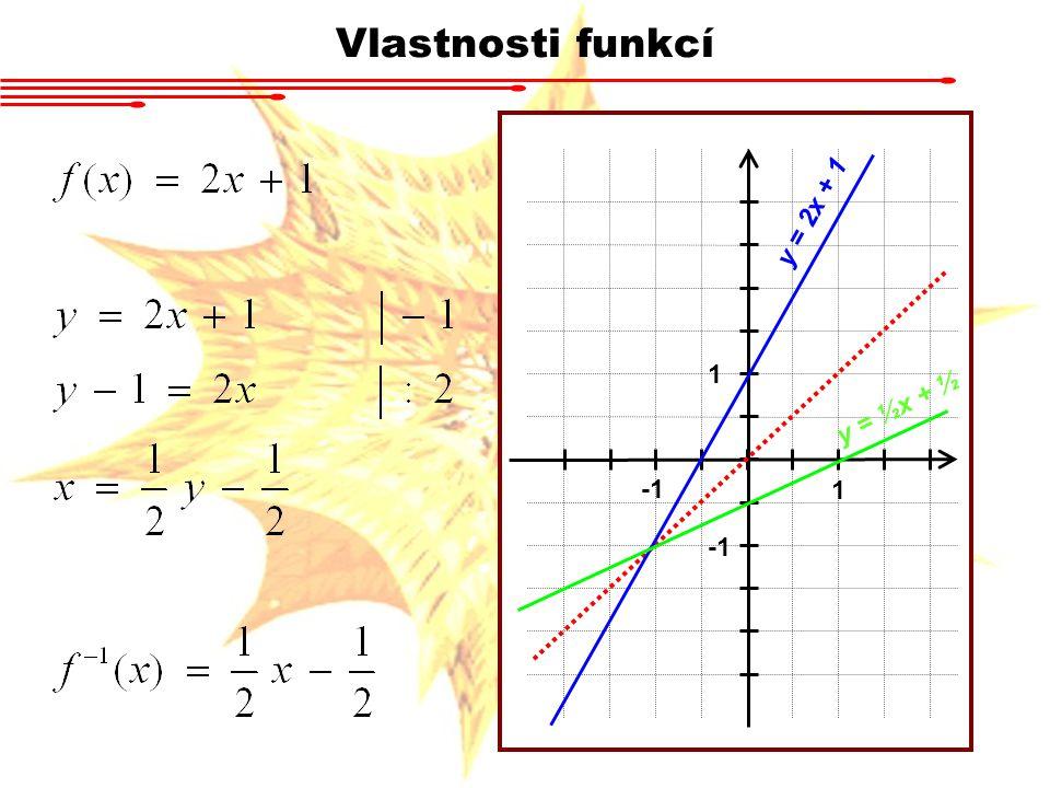 Vlastnosti funkcí 1 1 y = 2x + 1 y = ½x + ½