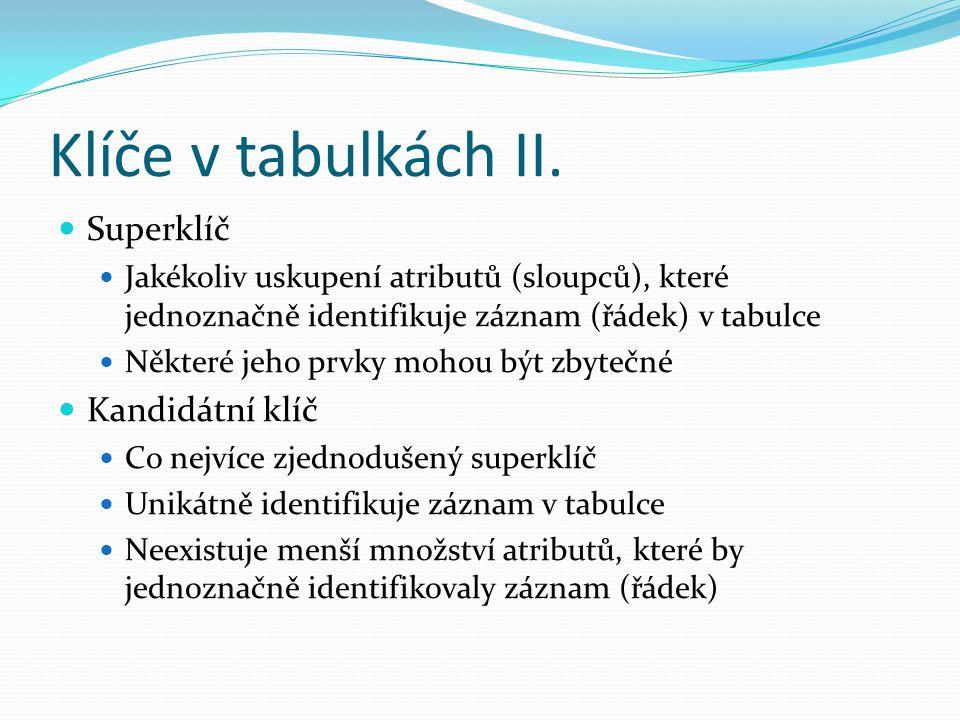 Klíče v tabulkách II. Superklíč Jakékoliv uskupení atributů (sloupců), které jednoznačně identifikuje záznam (řádek) v tabulce Některé jeho prvky moho
