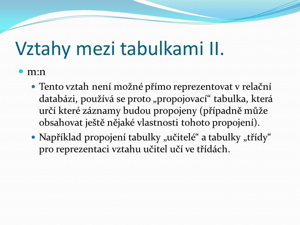 """Vztahy mezi tabulkami II. m:n Tento vztah není možné přímo reprezentovat v relační databázi, používá se proto """"propojovací"""" tabulka, která určí které"""