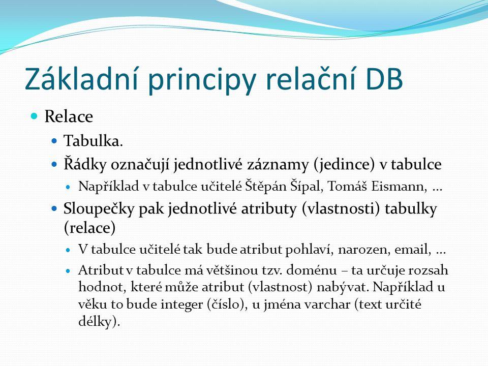 Základní principy relační DB Relace Tabulka. Řádky označují jednotlivé záznamy (jedince) v tabulce Například v tabulce učitelé Štěpán Šípal, Tomáš Eis