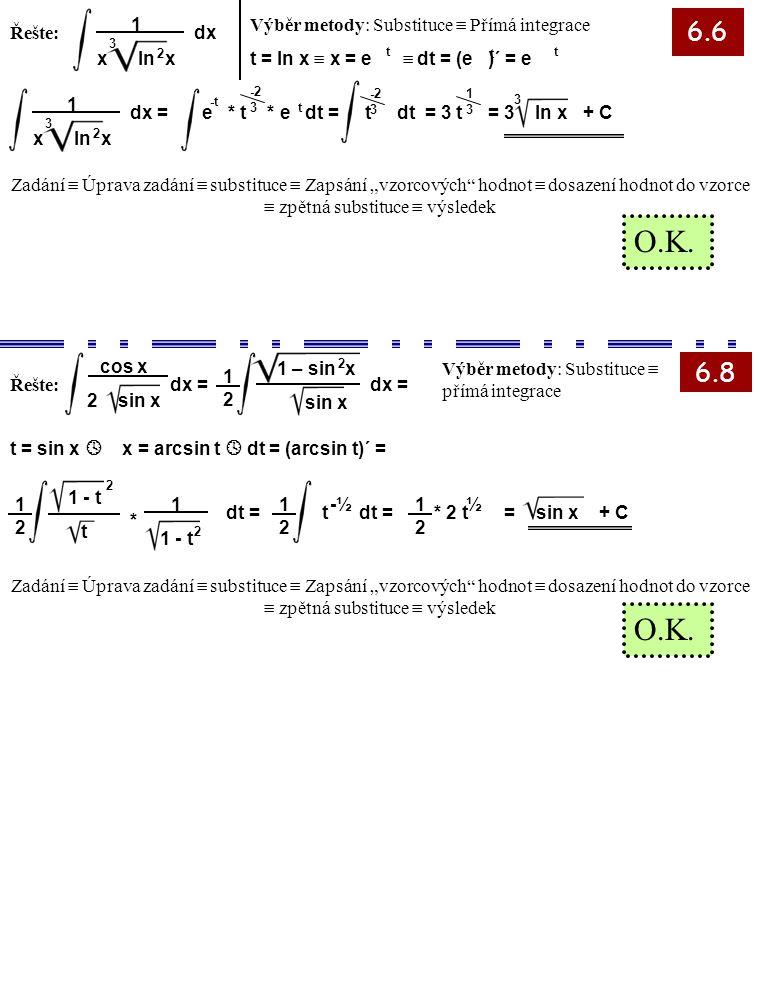 6.6 6.8 Řešte: Výběr metody: Substituce  Přímá integrace t = ln x  x = e  dt = (e )´ = e 3 1 x ln x 2 dx 3 1 x ln x 2 dx =e * t * e dt = t dt = 3 t