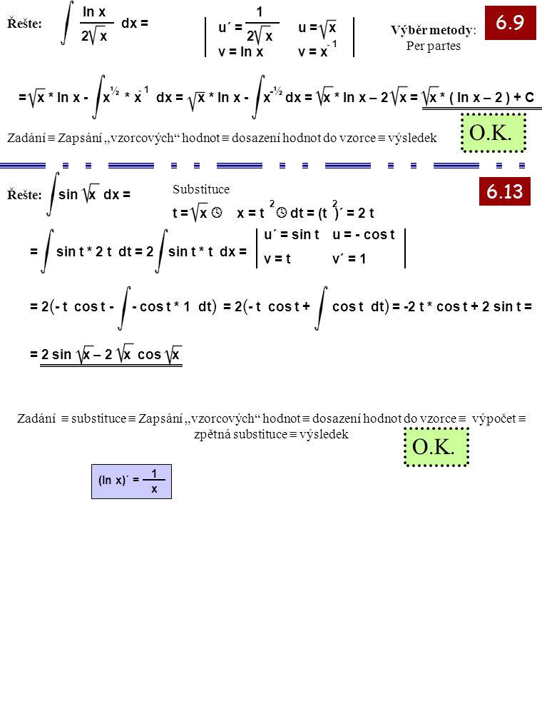 6.9 6.13 Řešte: 2 1 x (ln x)´ = ln x 2 x dx = u´ = v = ln x u = x v = x - 1 1 2 x Výběr metody: Per partes = x * ln x - x * x dx = x * ln x - x dx = x