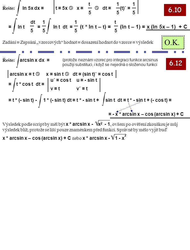 6.10 6.12 Řešte: ln 5x dx = t = 5x  x = t5t5 1515 1515  dt = (t)´ = = ln t = ln t dt = (t * ln t – t) = (ln t – 1) = x (ln 5x – 1) + C dt 5 1515 t5t