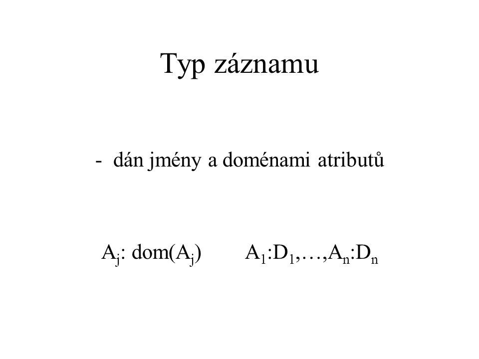 Typ záznamu -dán jmény a doménami atributů A j : dom(A j )A 1 :D 1,…,A n :D n